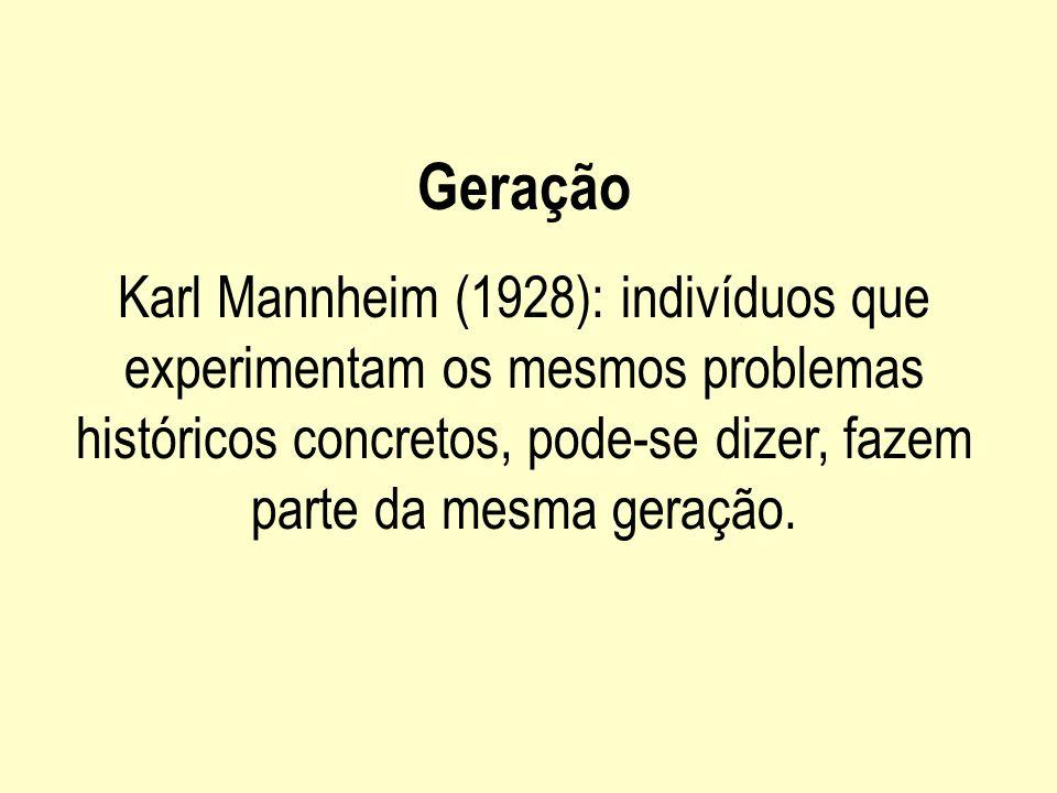 GeraçãoKarl Mannheim (1928): indivíduos que experimentam os mesmos problemas históricos concretos, pode-se dizer, fazem parte da mesma geração.