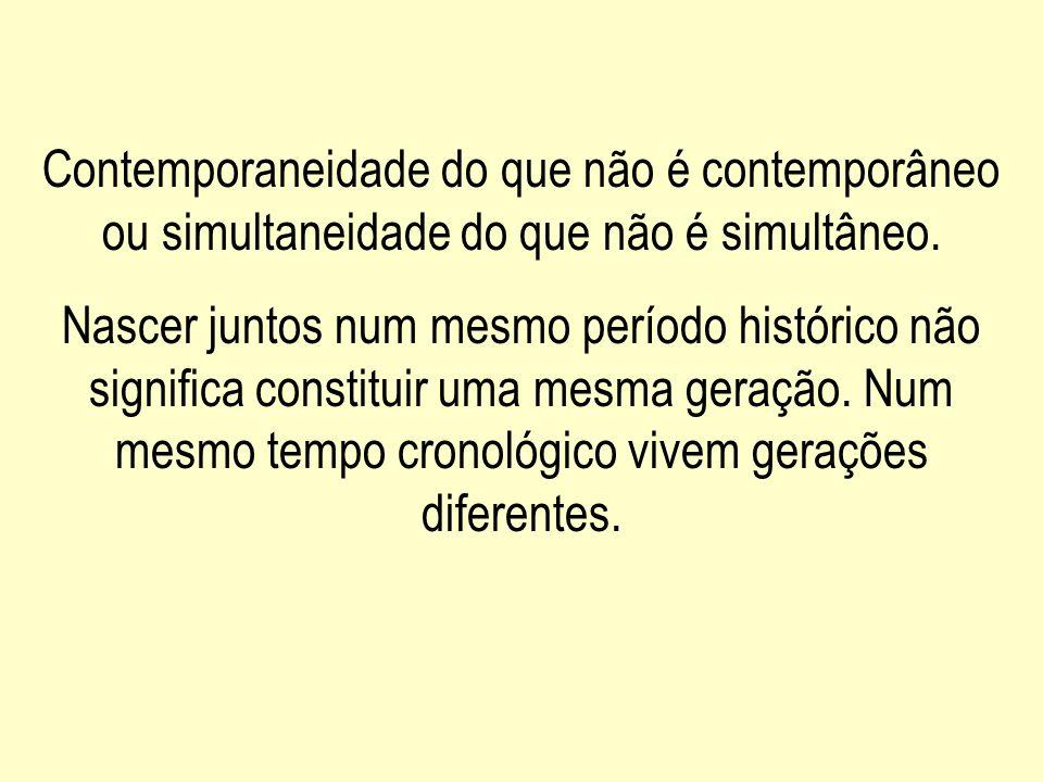 Contemporaneidade do que não é contemporâneo ou simultaneidade do que não é simultâneo.