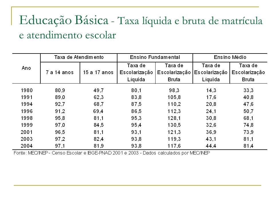 Educação Básica - Taxa líquida e bruta de matrícula e atendimento escolar