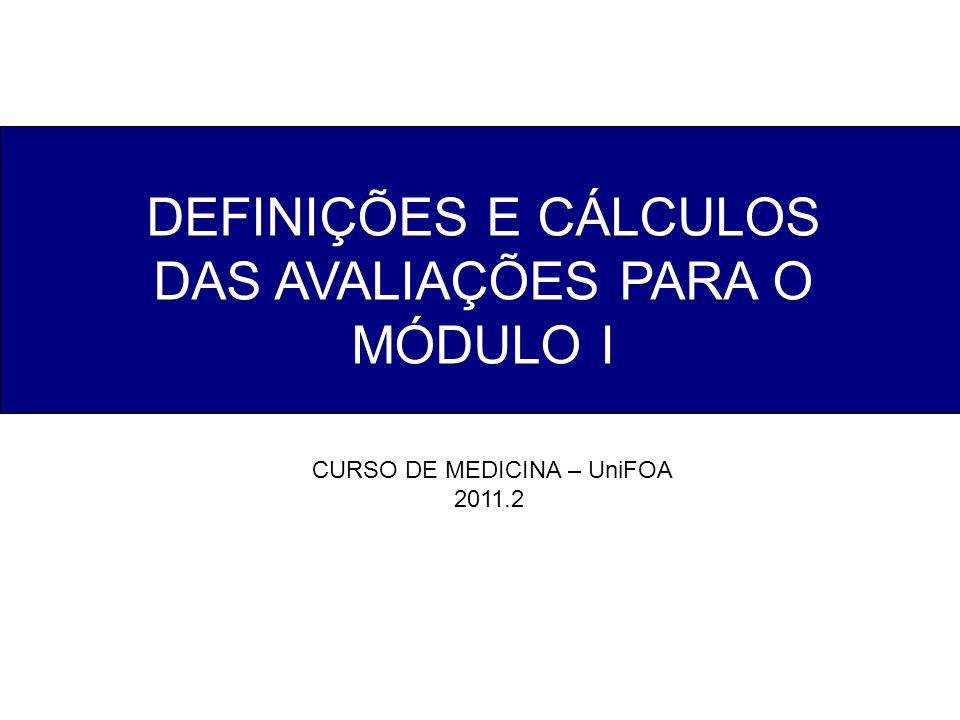 DEFINIÇÕES E CÁLCULOS DAS AVALIAÇÕES PARA O MÓDULO I