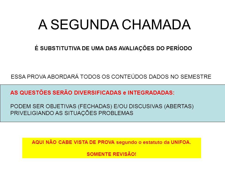 A SEGUNDA CHAMADA É SUBSTITUTIVA DE UMA DAS AVALIAÇÕES DO PERÍODO