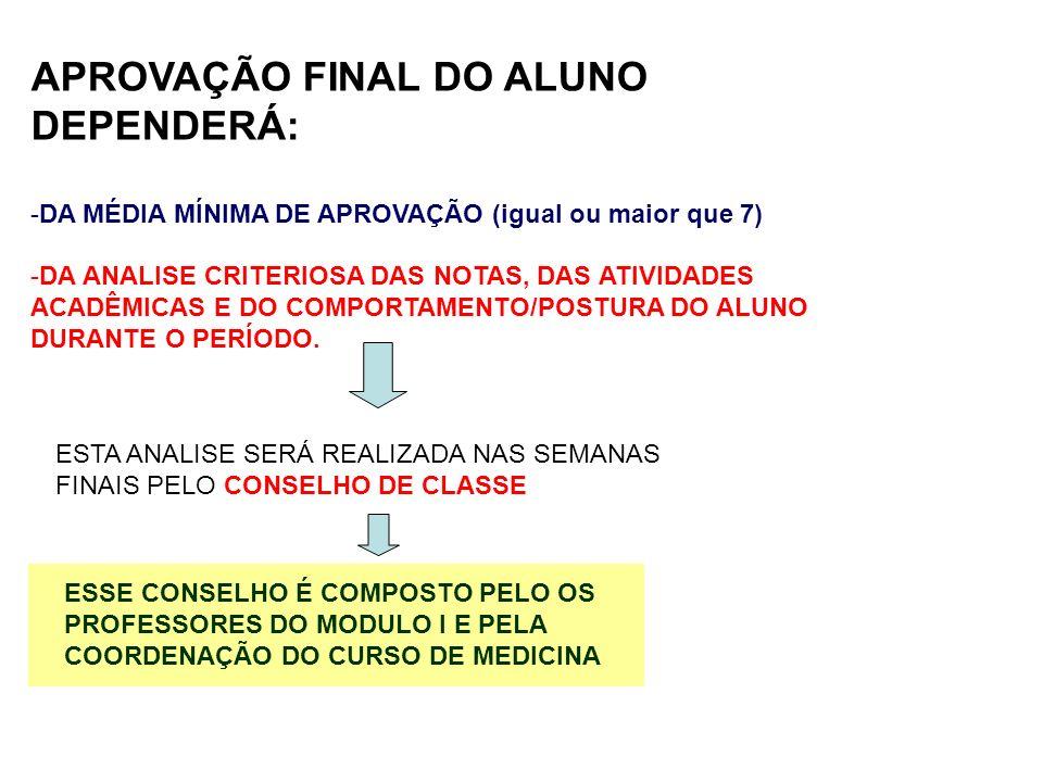 APROVAÇÃO FINAL DO ALUNO DEPENDERÁ:
