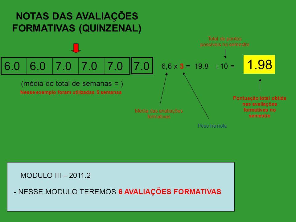 1.98 6.0 7.0 7.0 NOTAS DAS AVALIAÇÕES FORMATIVAS (QUINZENAL)