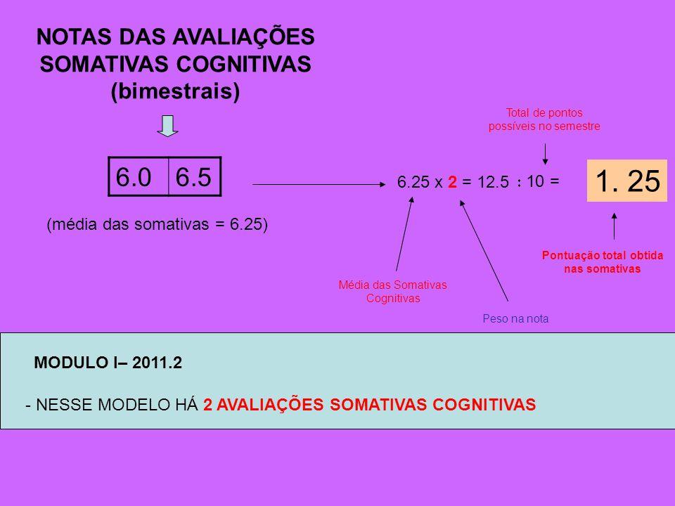 1. 25 6.0 6.5 NOTAS DAS AVALIAÇÕES SOMATIVAS COGNITIVAS (bimestrais)
