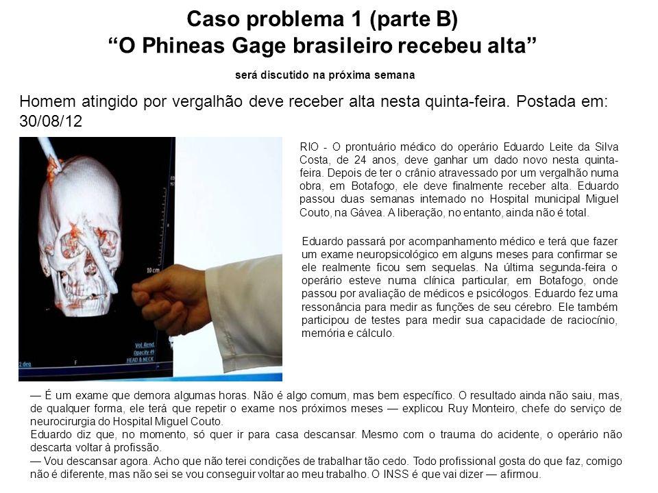 Caso problema 1 (parte B) O Phineas Gage brasileiro recebeu alta