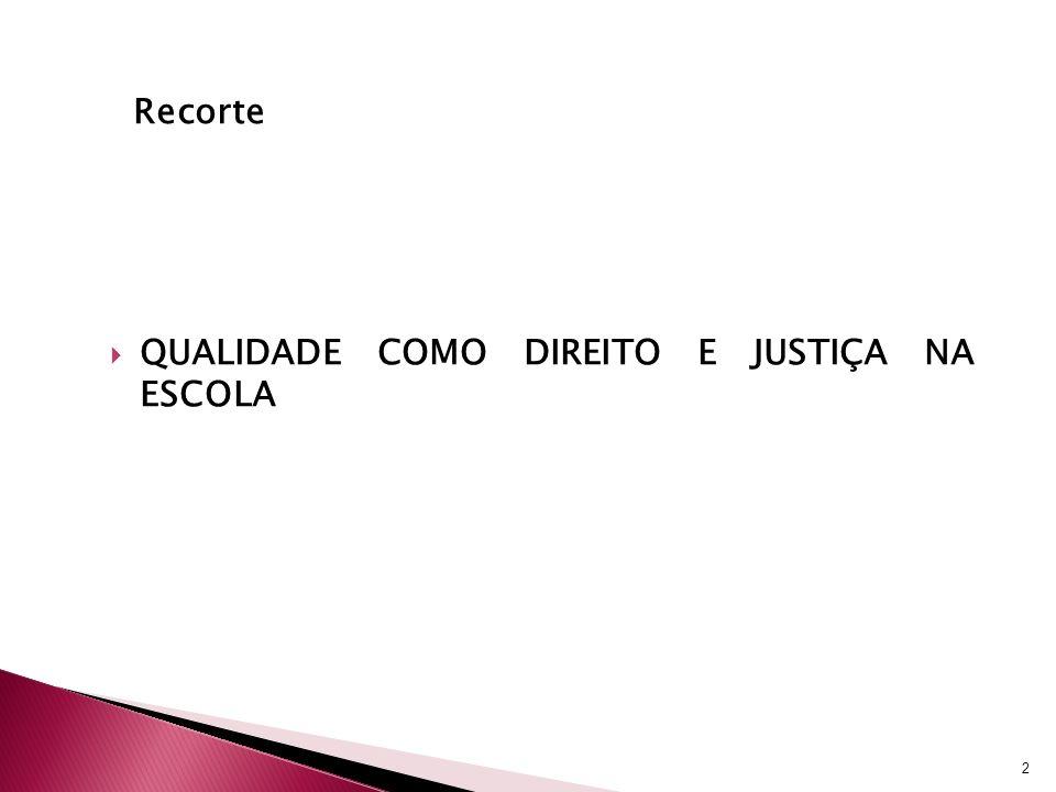 Recorte QUALIDADE COMO DIREITO E JUSTIÇA NA ESCOLA