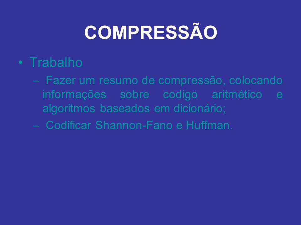 COMPRESSÃO Trabalho. Fazer um resumo de compressão, colocando informações sobre codigo aritmético e algoritmos baseados em dicionário;