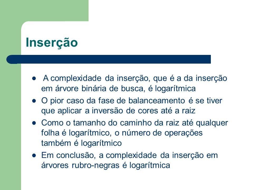 InserçãoA complexidade da inserção, que é a da inserção em árvore binária de busca, é logarítmica.