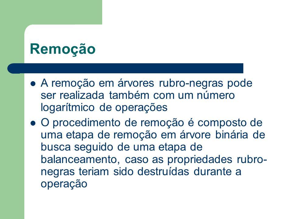 RemoçãoA remoção em árvores rubro-negras pode ser realizada também com um número logarítmico de operações.