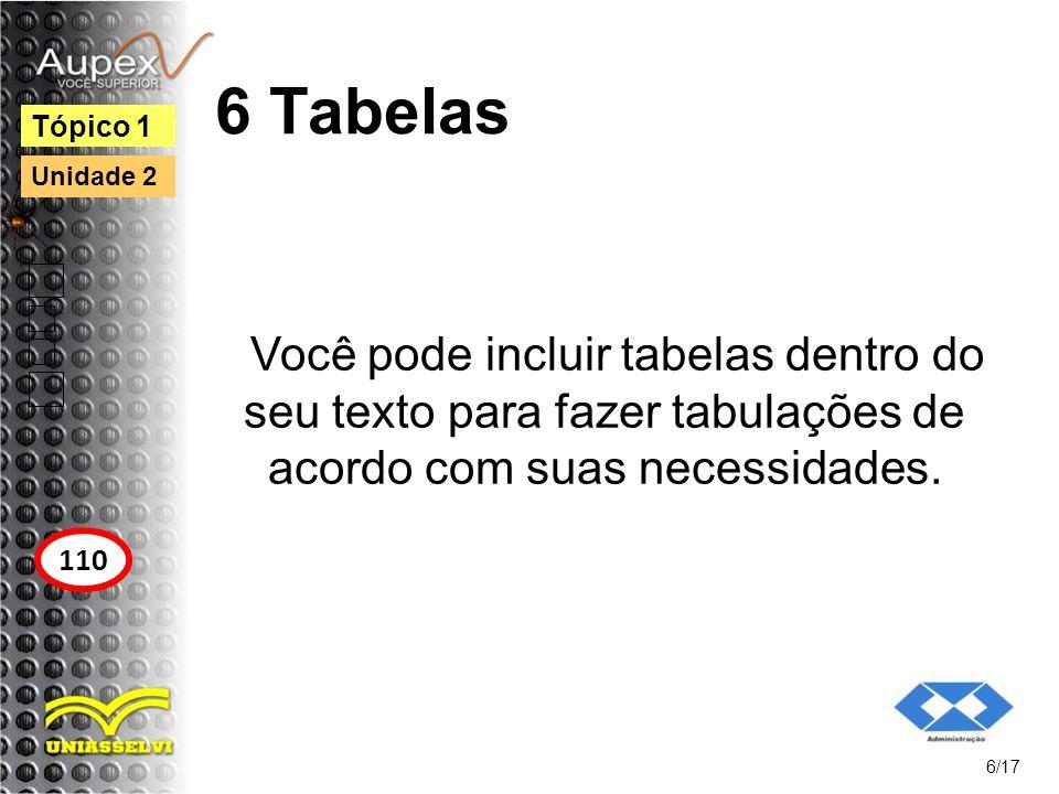 6 Tabelas Tópico 1. Unidade 2. Você pode incluir tabelas dentro do seu texto para fazer tabulações de acordo com suas necessidades.