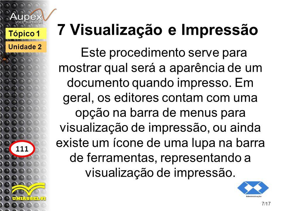 7 Visualização e Impressão