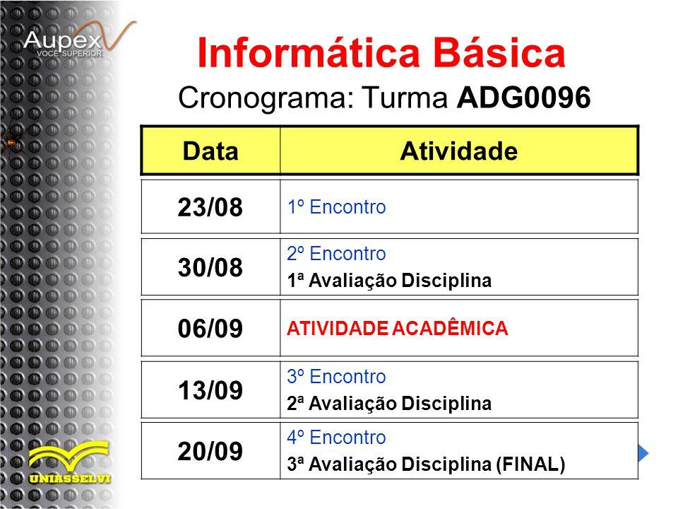 Informática Básica Cronograma: Turma ADG0096 Data Atividade 23/08
