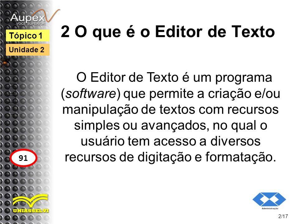 2 O que é o Editor de Texto Tópico 1. Unidade 2.