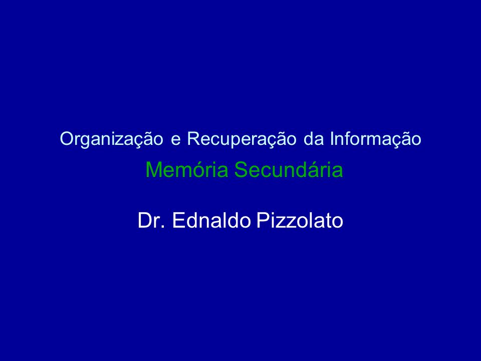 Organização e Recuperação da Informação Memória Secundária