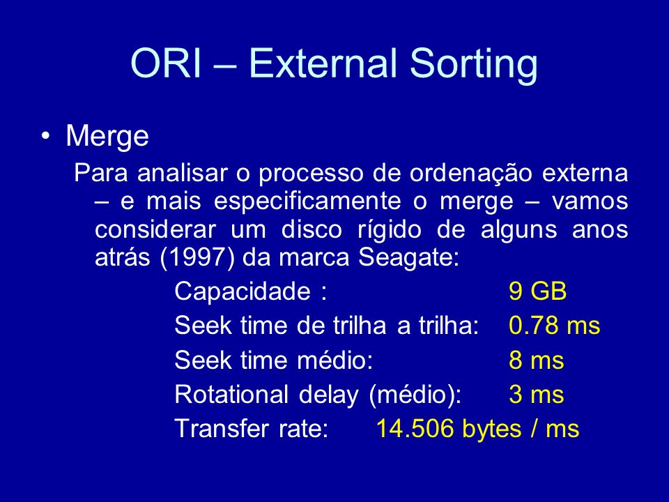 ORI – External Sorting Merge