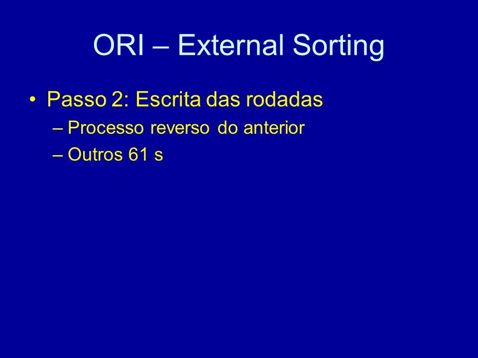ORI – External Sorting Passo 2: Escrita das rodadas