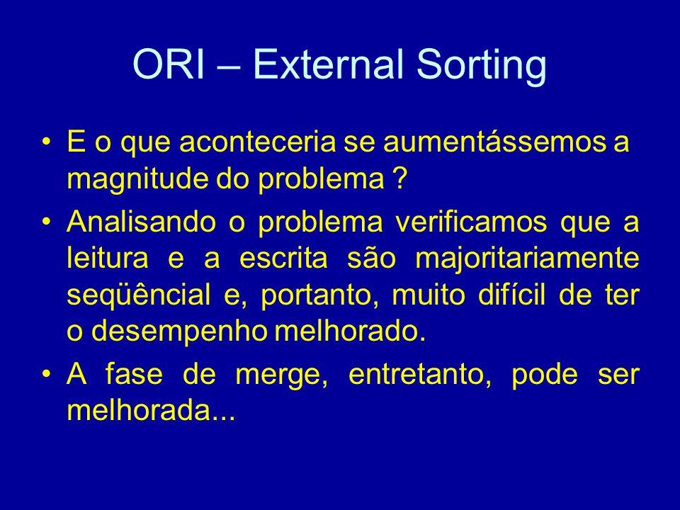 ORI – External Sorting E o que aconteceria se aumentássemos a magnitude do problema