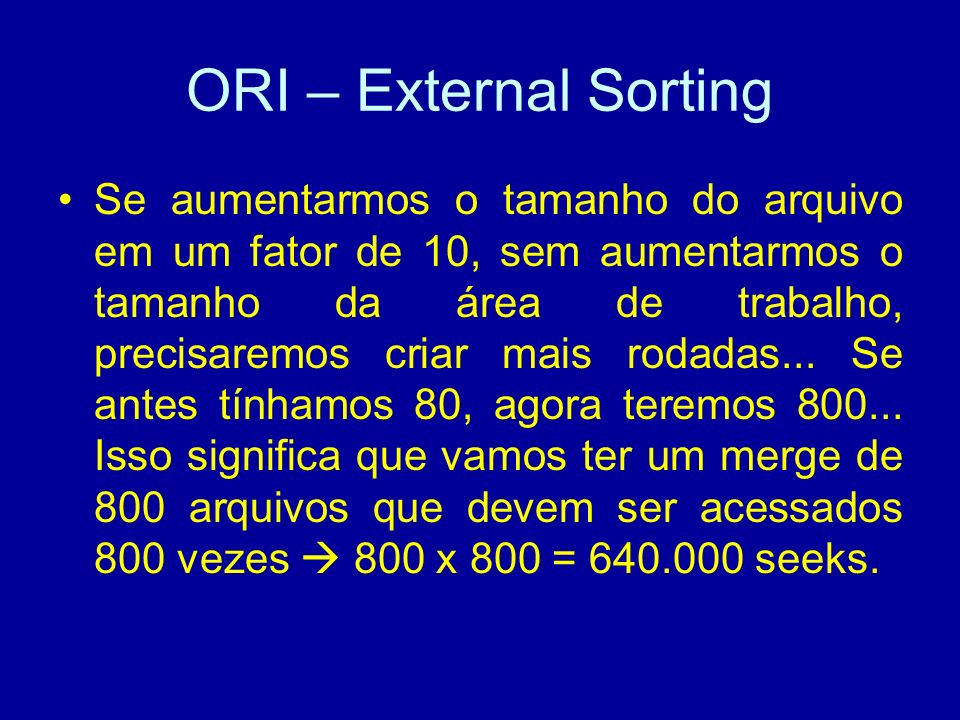 ORI – External Sorting