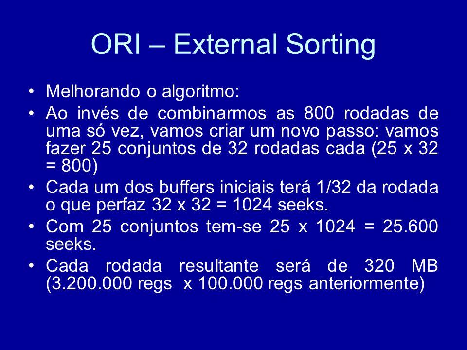 ORI – External Sorting Melhorando o algoritmo: