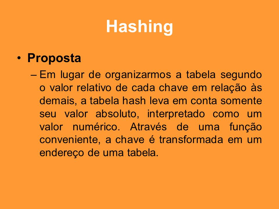 Hashing Proposta.