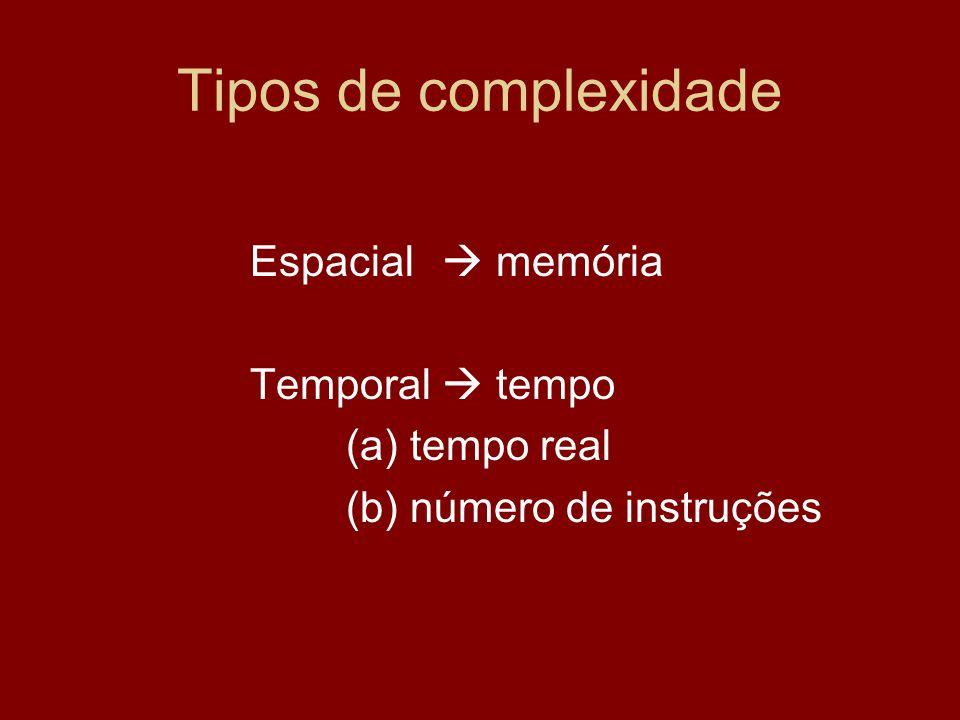 Tipos de complexidade Espacial  memória Temporal  tempo