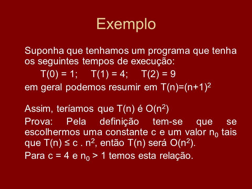 ExemploSuponha que tenhamos um programa que tenha os seguintes tempos de execução: T(0) = 1; T(1) = 4; T(2) = 9.