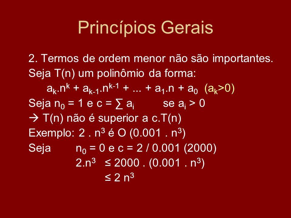 Princípios Gerais 2. Termos de ordem menor não são importantes.