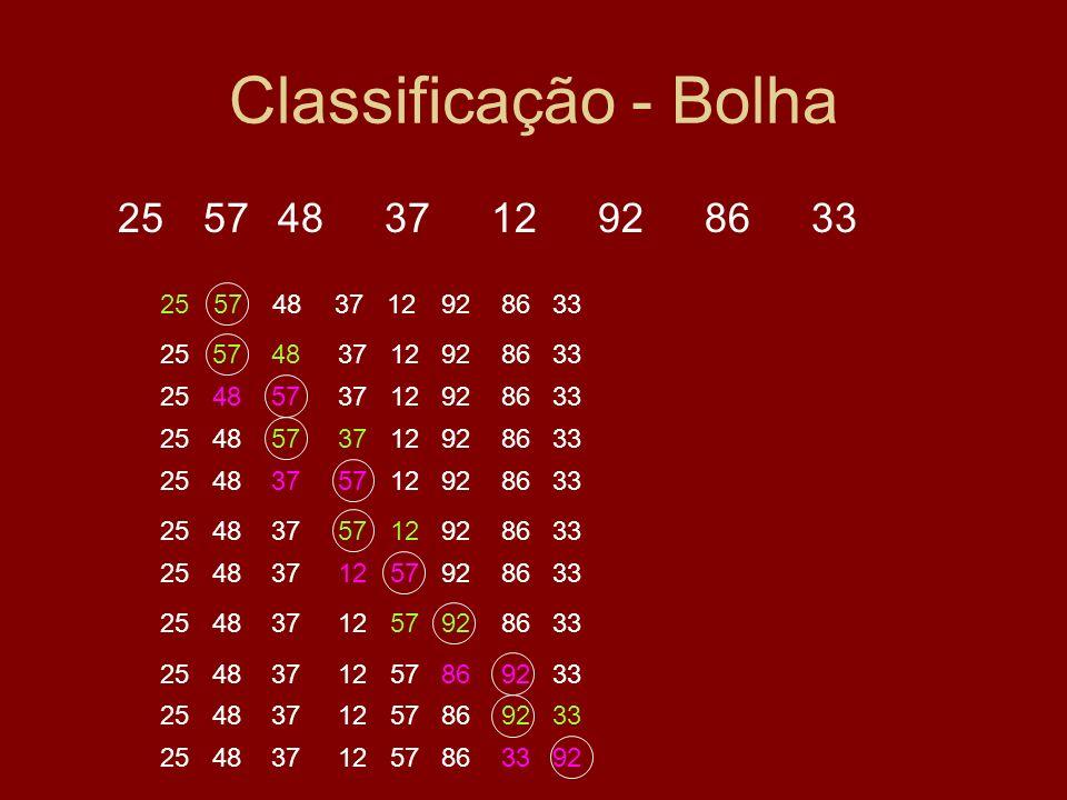 Classificação - Bolha25 57 48 37 12 92 86 33. 25 57 48 37 12 92 86 33. 25 57 48 37 12 92 86 33.