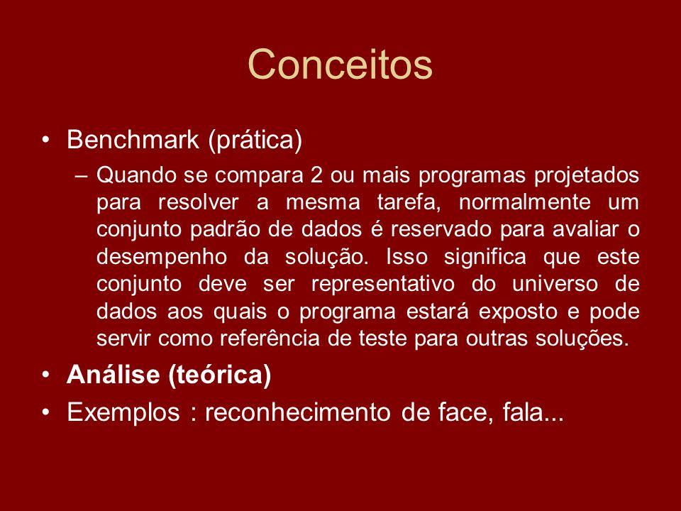 Conceitos Benchmark (prática) Análise (teórica)