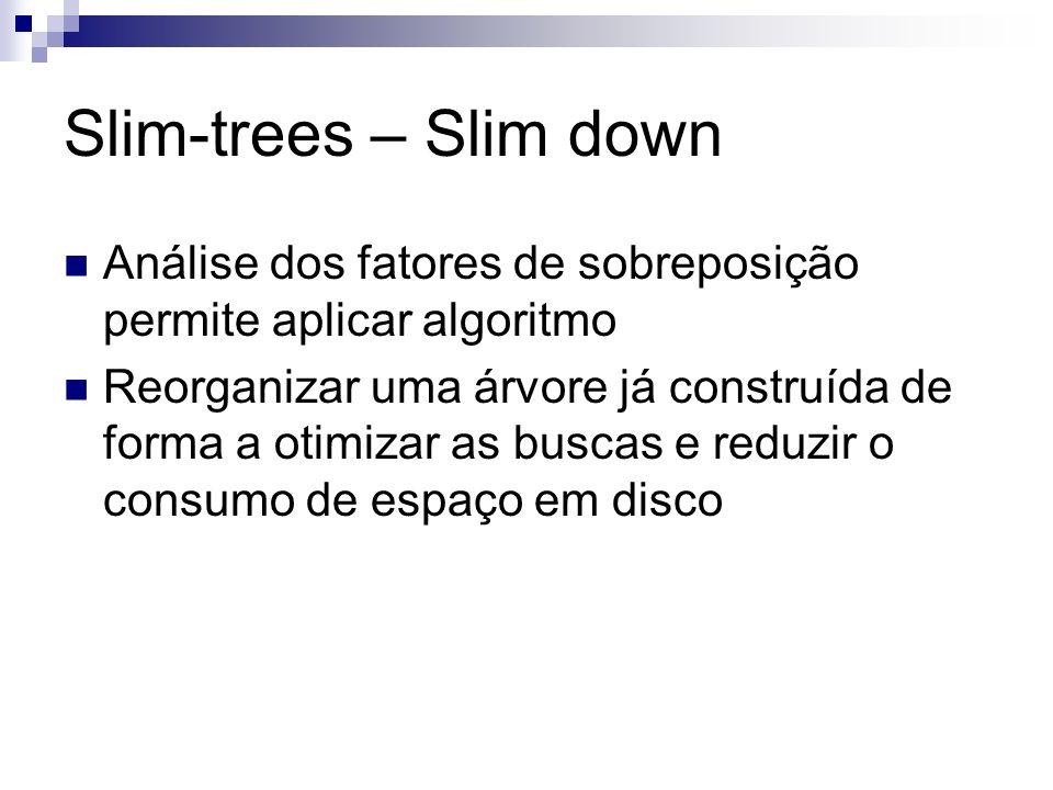 Slim-trees – Slim down Análise dos fatores de sobreposição permite aplicar algoritmo.