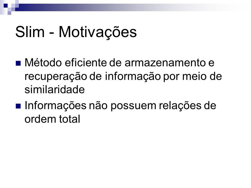 Slim - Motivações Método eficiente de armazenamento e recuperação de informação por meio de similaridade.