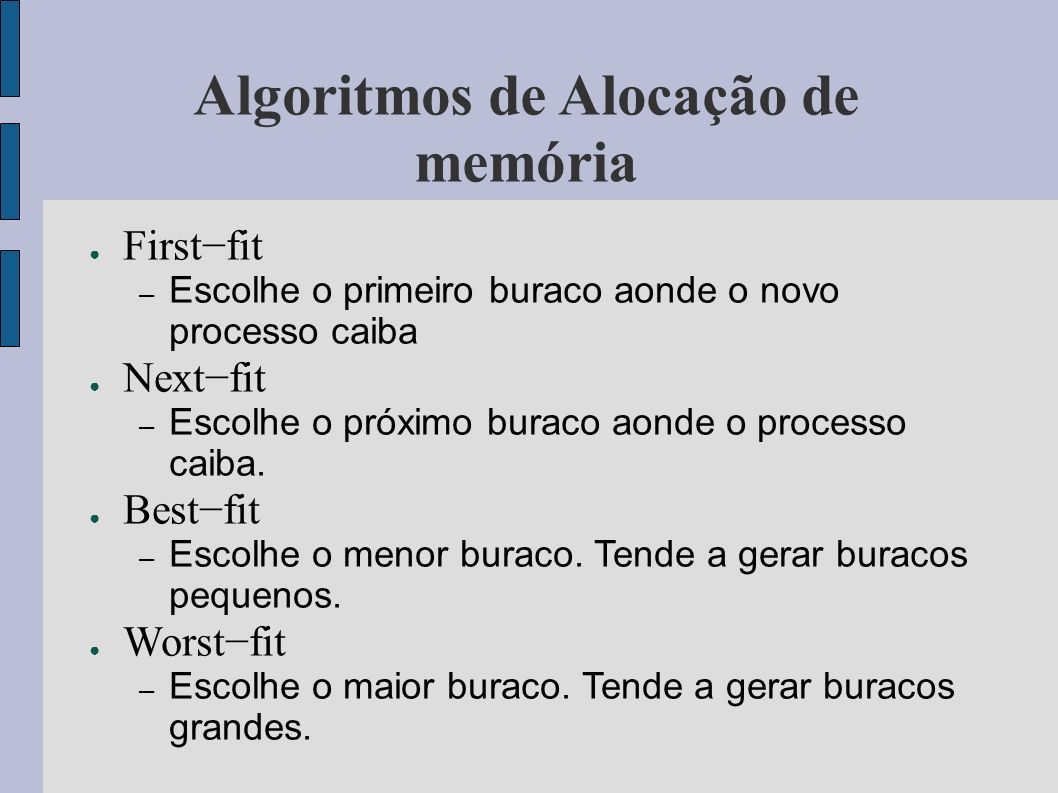 Algoritmos de Alocação de memória