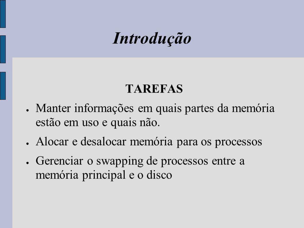 Introdução TAREFAS. Manter informações em quais partes da memória estão em uso e quais não. Alocar e desalocar memória para os processos.