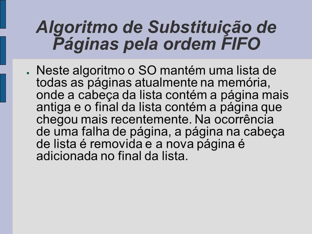 Algoritmo de Substituição de Páginas pela ordem FIFO