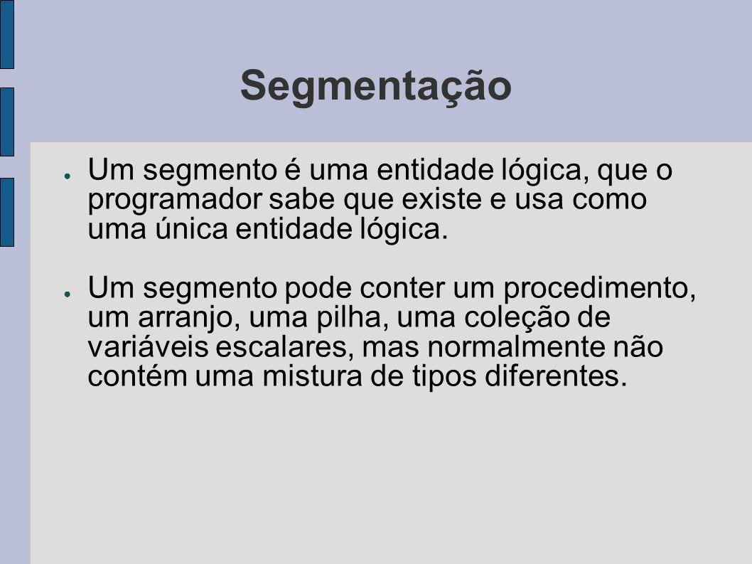 SegmentaçãoUm segmento é uma entidade lógica, que o programador sabe que existe e usa como uma única entidade lógica.
