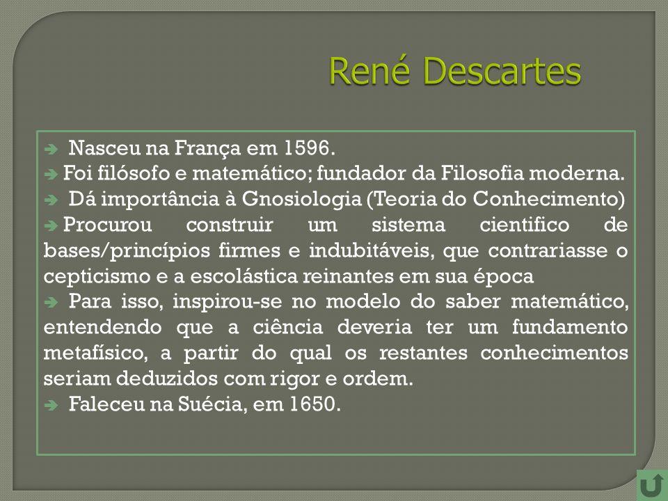 René Descartes Nasceu na França em 1596.