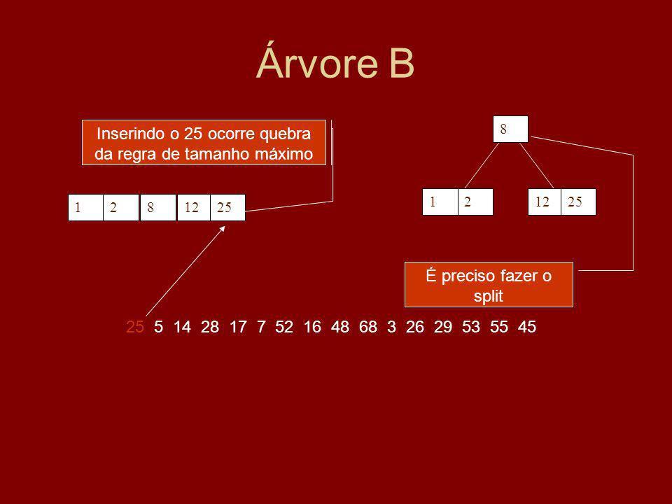 Inserindo o 25 ocorre quebra da regra de tamanho máximo
