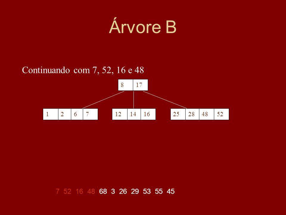 Árvore B Continuando com 7, 52, 16 e 48 7 52 16 48 68 3 26 29 53 55 45