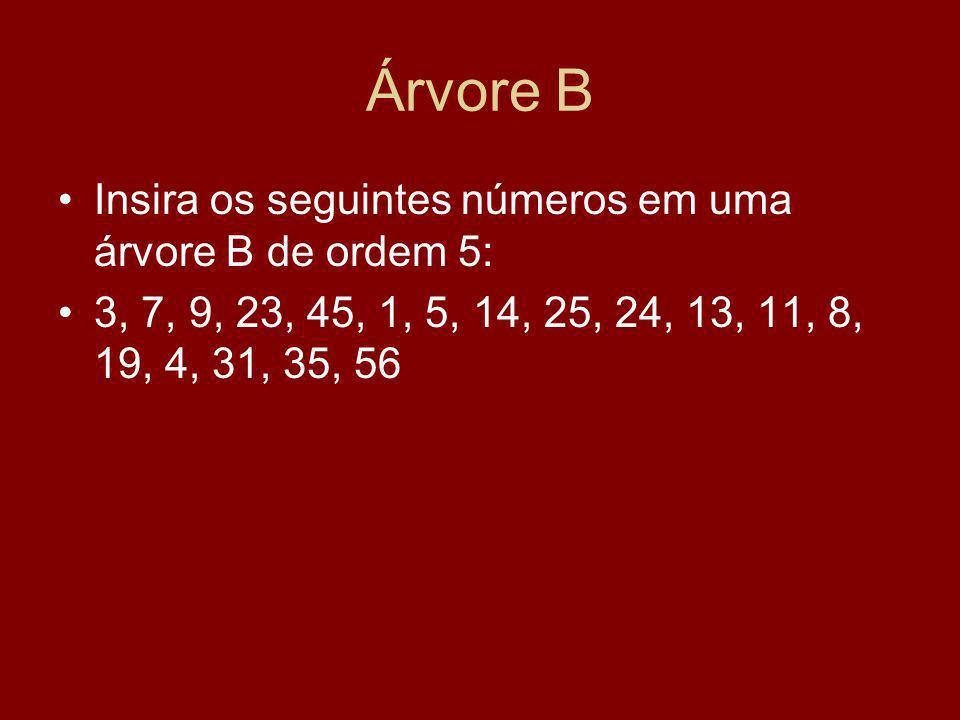 Árvore B Insira os seguintes números em uma árvore B de ordem 5: