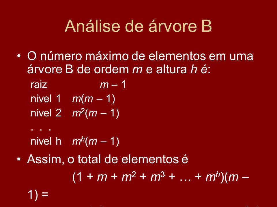 Análise de árvore B O número máximo de elementos em uma árvore B de ordem m e altura h é: raiz m – 1.