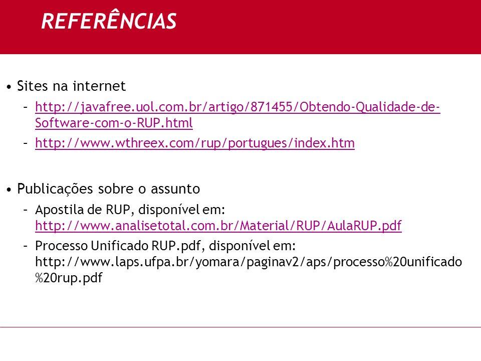 REFERÊNCIAS Sites na internet Publicações sobre o assunto