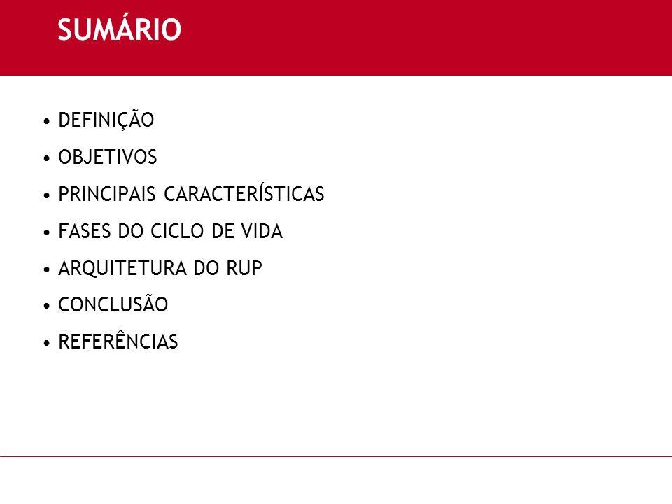 SUMÁRIO DEFINIÇÃO OBJETIVOS PRINCIPAIS CARACTERÍSTICAS