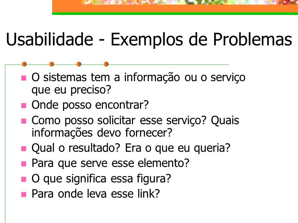 Usabilidade - Exemplos de Problemas