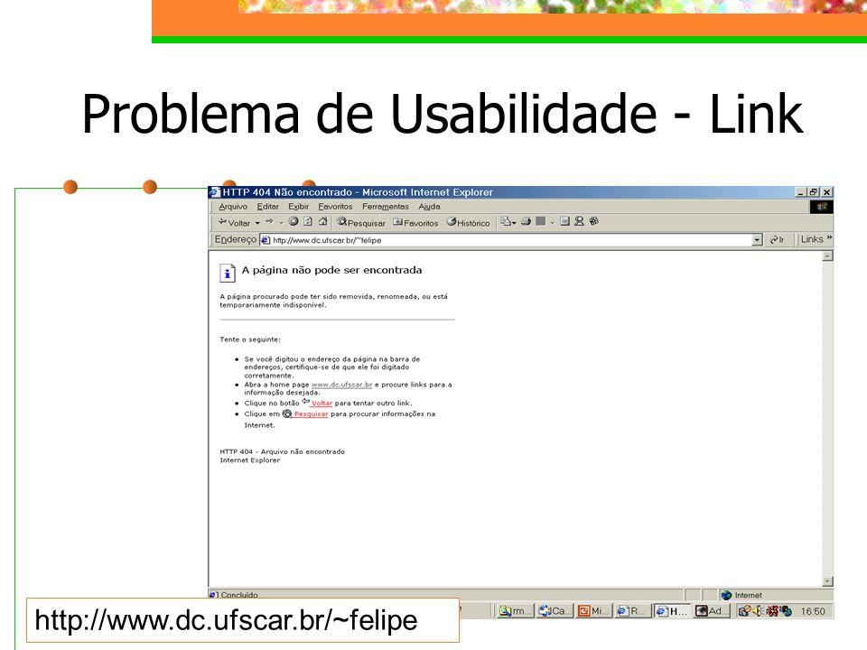 Problema de Usabilidade - Link