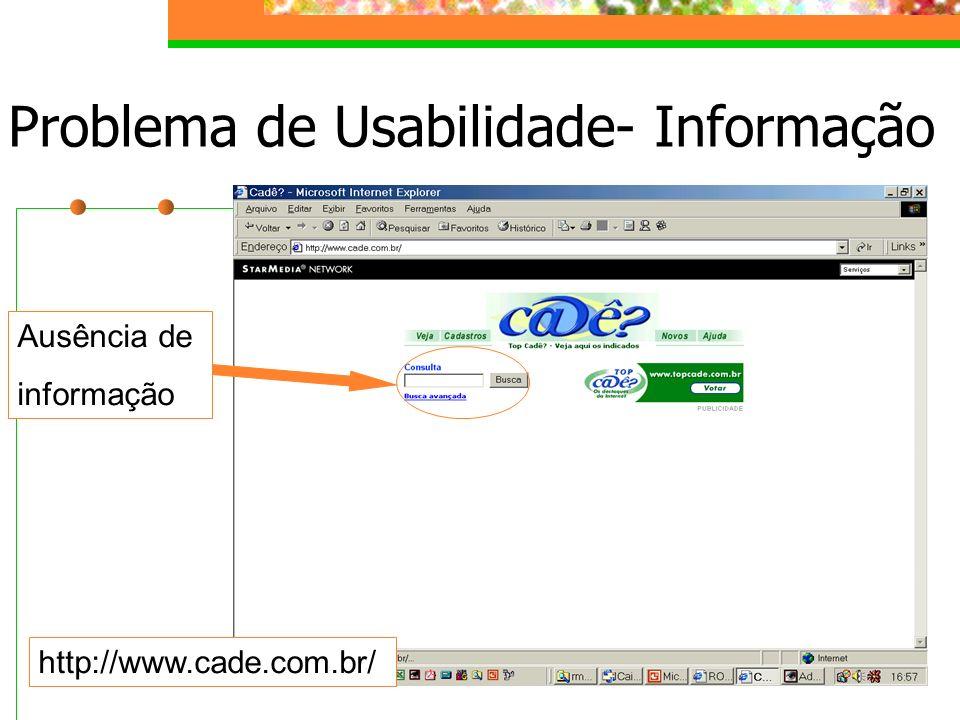 Problema de Usabilidade- Informação