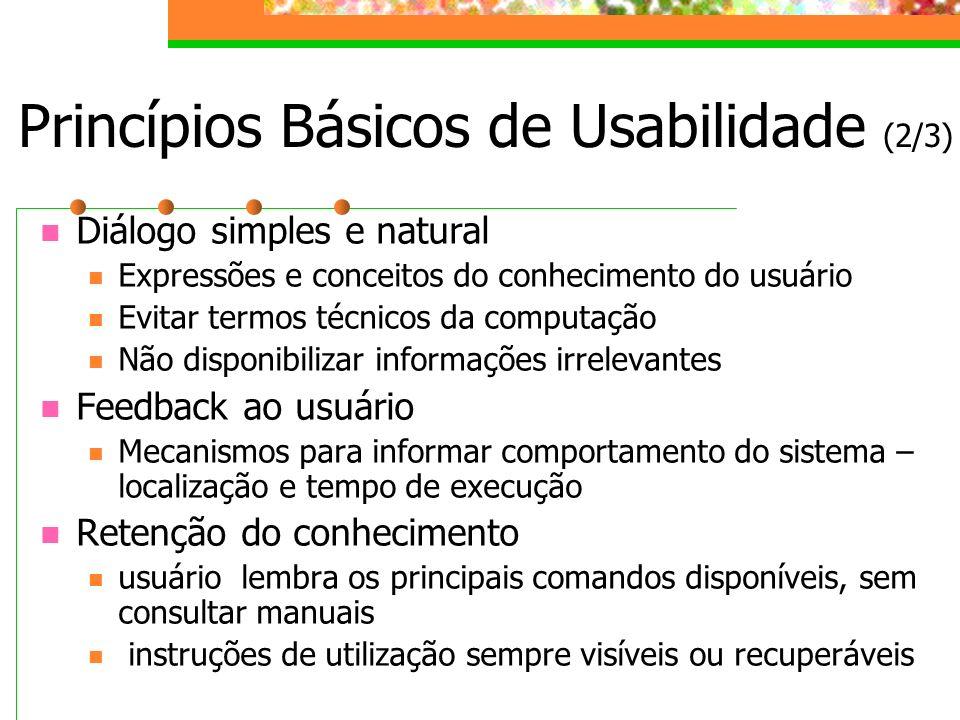 Princípios Básicos de Usabilidade (2/3)
