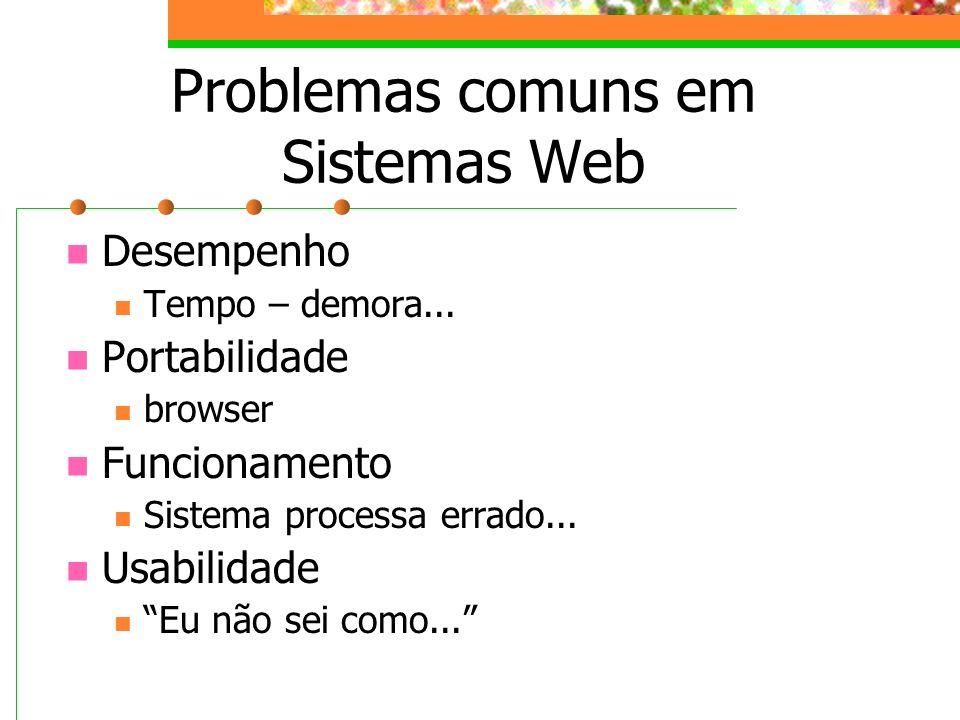Problemas comuns em Sistemas Web