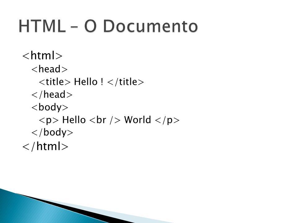 HTML – O Documento <html> </html> <head>