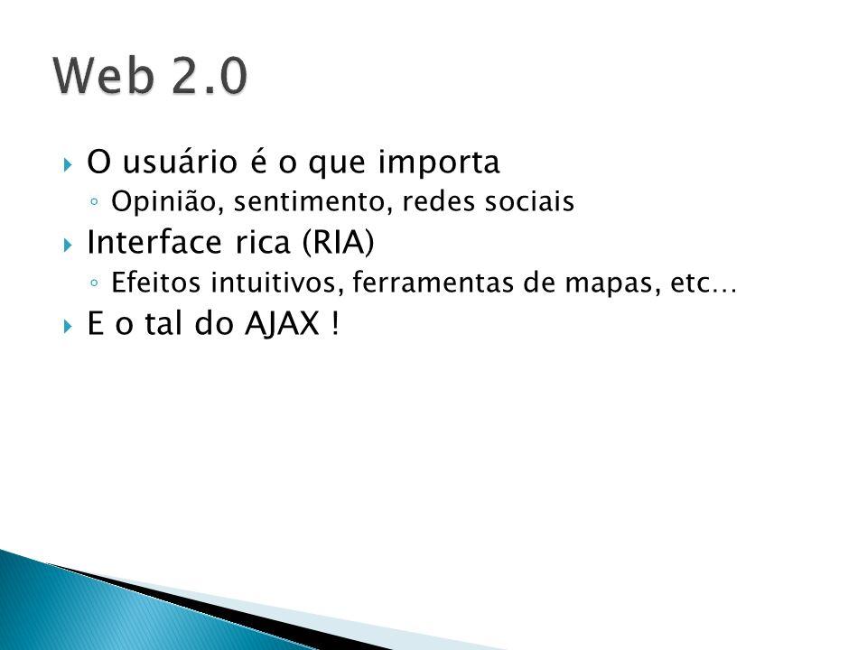 Web 2.0 O usuário é o que importa Interface rica (RIA)
