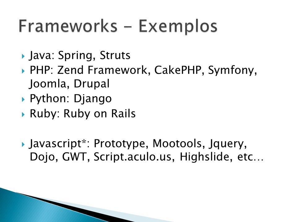 Frameworks - Exemplos Java: Spring, Struts